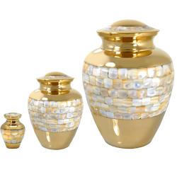 matching mini, sharing and full-size mother of pearl urns