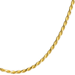 close-up of gold filled rope chain for detail