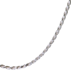 close-up of sterling silver rope chain for detail