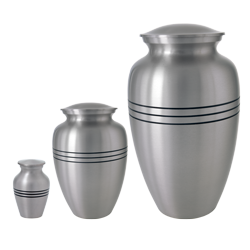 traditional pewter cremation urn shown in 3 different sizes- mini, sharing & full-size