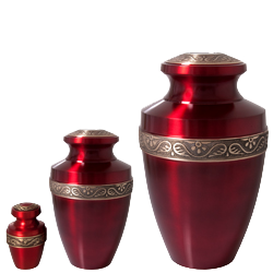 matching mini scarlet brass, medium sharing urn and full-size urn