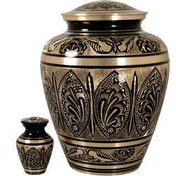 small keepsake urn shown with matching full-size urn for size comparison
