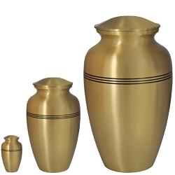 Matching Golden Classic mini keepsake, sharing urn & full-size urn