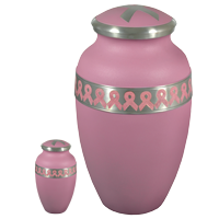 Power of Pink mini urn keepsake and full-size urn