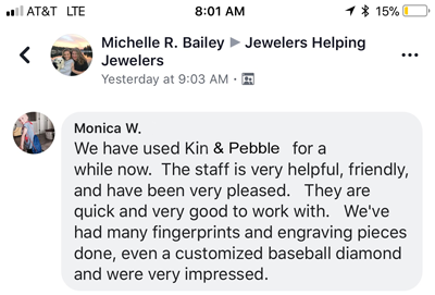 kin and pebble jewelry testimonial