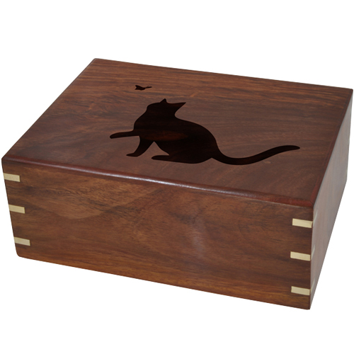 Wholesale Pet Cremation Wood Urns: Perfect Wooden Box Urn- Your Cat's Silhouette