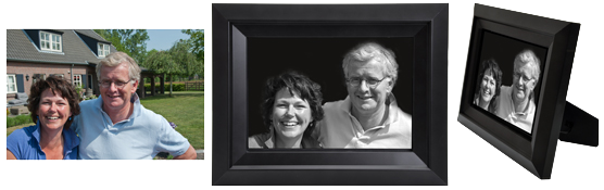 Sample of framed memorial portrait print