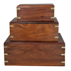 Perfect Wooden Box Urn shown in small, medium and large sizes