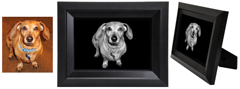 Sample of framed pet memorial art print