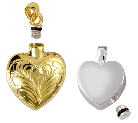 cremation jewelry pendants shown with screw opening