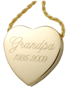 peaceful heart cremation jewelry pendant engraved with grandpa