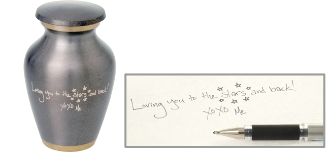 custom engraving from customer supplied handwritten note