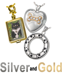 silver and gold pet cremation jewelry