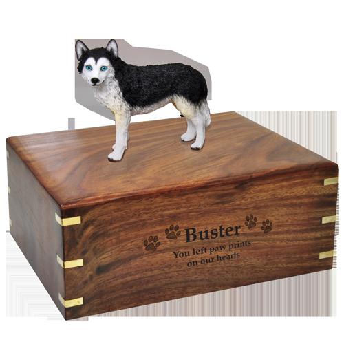 Wholesale Blue-eyed Black and White Husky| Dog Cremation Urn