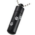 Black aluminum pet urn memorial shown with ball chain option