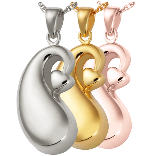 Wholesale Cremation Jewelry Infinite Tear of Love shown in silver and gold