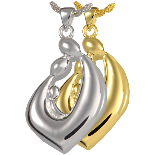 Family Embrace Teardrop jewelry shown in silver and gold metal options