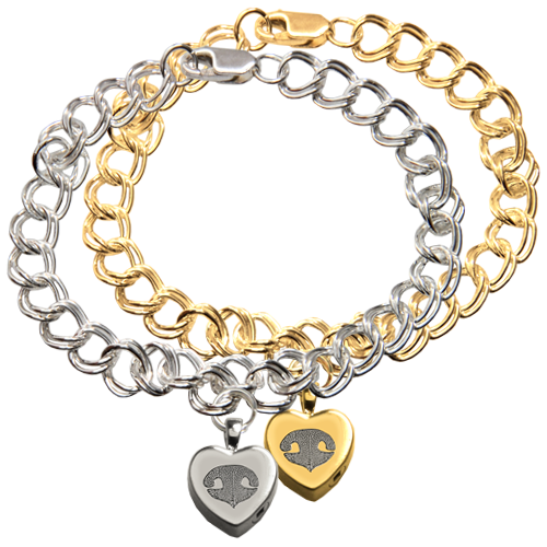 Wholesale Heart Charm Bracelet with Actual Nose Print in silver or gold