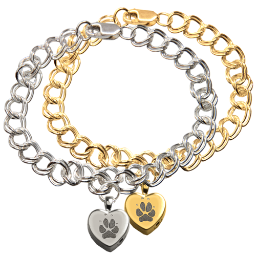 Wholesale Classic Heart Paw Print Charm Bracelet in silver & gold