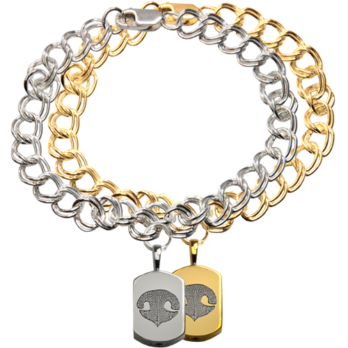 Wholesale Mini Dog Tag Charm Bracelet with Nose Print in silver or gold