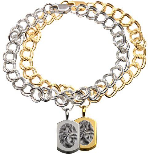 Wholesale Mini Dog Tag Charm with Fingerprint Bracelet in silver or gold