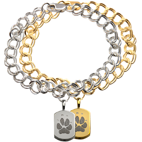 Wholesale Mini Dog Tag Charm Bracelet with Actual Pawprint in silver & gold