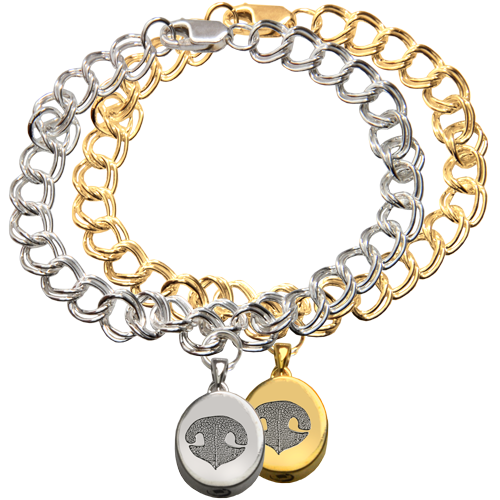 Wholesale Mini Oval Charm Bracelet with Actual Nose Print in silver or gold