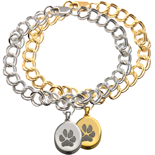 Wholesale Mini Oval Charm Bracelet with Actual Paw Print in silver or gold