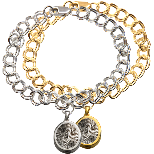 Wholesale Mini Oval Charm with Rim Fingerprint Bracelet in silver and gold