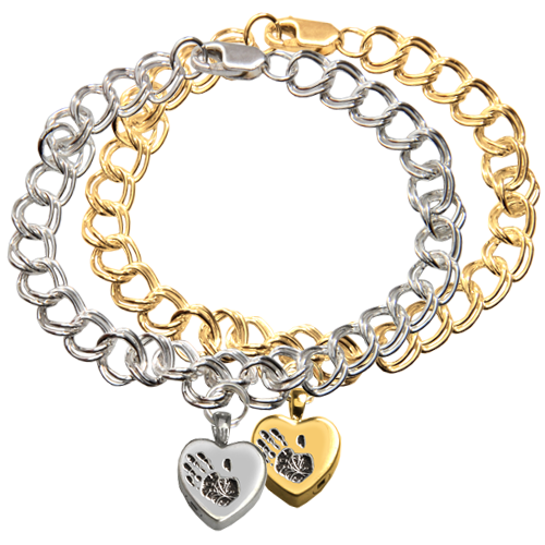 Wholesale Classic Heart Handprint Charm Bracelet shown in silver and gold