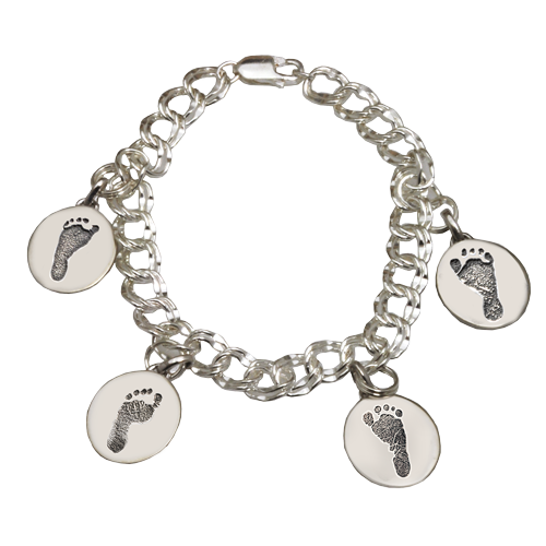 Charm bracelet with 4 unique footprints