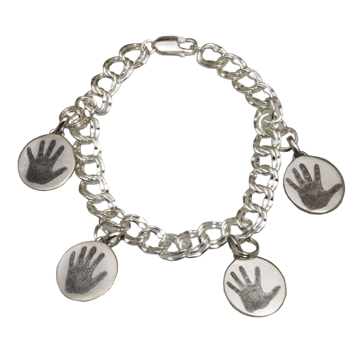 Bracelet with 4 unique hand print charms