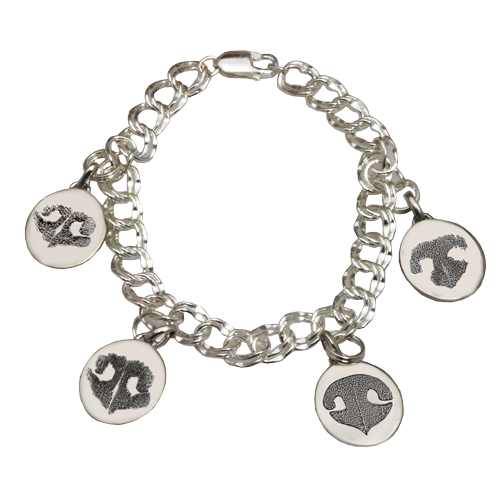 Bracelet with 4 unique pet nose print charms