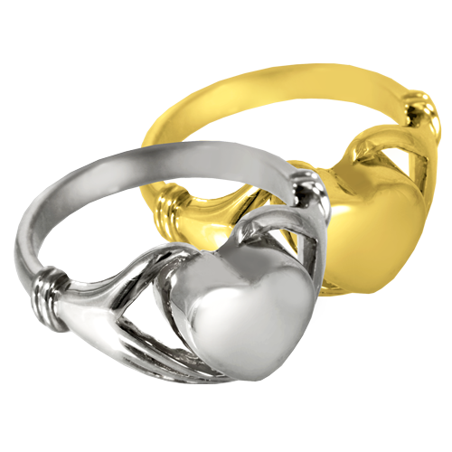 Wholesale Urn Jewelry Heart Ring shown in silver and gold metals