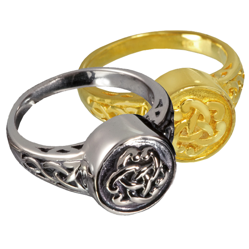 Wholesale Pet Cremation Jewelry Celtic Ring shown in silver and gold