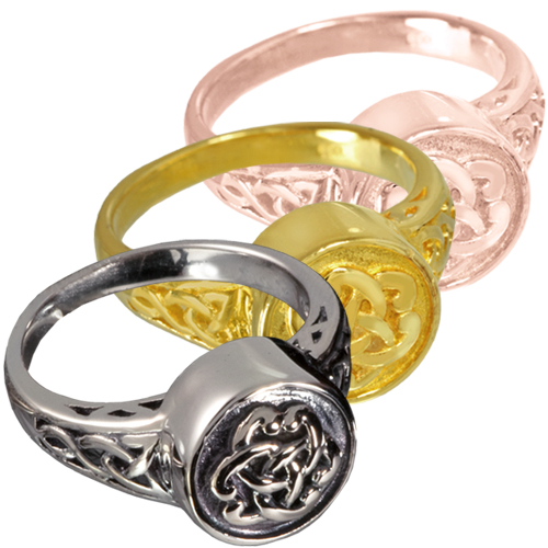 Wholesale Urn Jewelry Celtic Ring shown in silver and gold