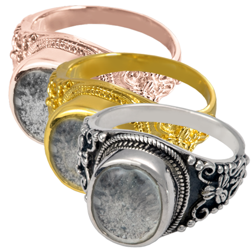 Ring with Clear Glass Front wholesale jewelry shown in silver and gold