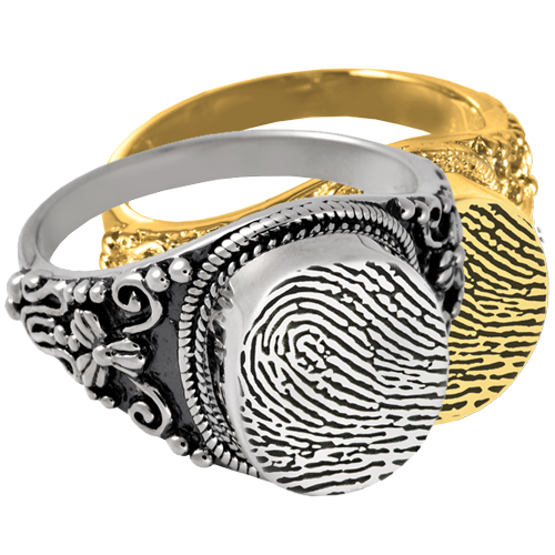 Wholesale Fingerprint Cremation Round Ring in silver and gold metals