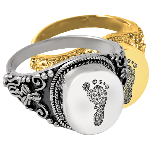 Wholesale Cremation Round Ring Footprint shown in silver and gold metals