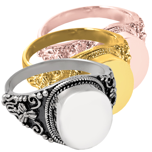 Wholesale Urn Jewelry Round Ring shown in silver and gold metal options