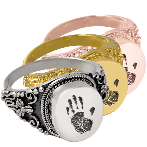 Wholesale Jewelry Round Ring- Handprint shown in silver and gold metals