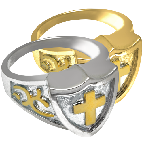 Wholesale Jewelry Cross Shield Ring shown in silver and gold metal options