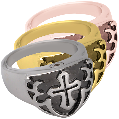 Men's Cross Ring- Black wholesale jewelry shown in silver and gold metals
