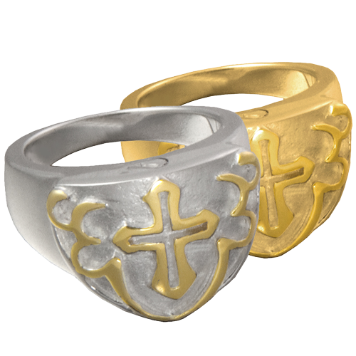 Wholesale Pet Cremation Jewelry Cross Ring shown in silver and gold metals