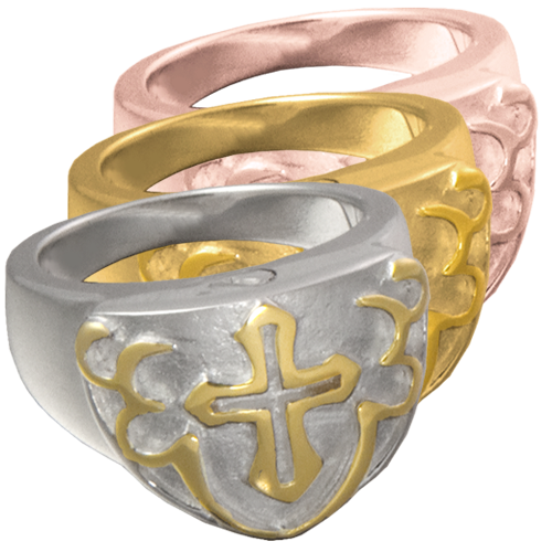 Men's Cross Ring  Wholesale Cremation Jewelry shown in silver and gold