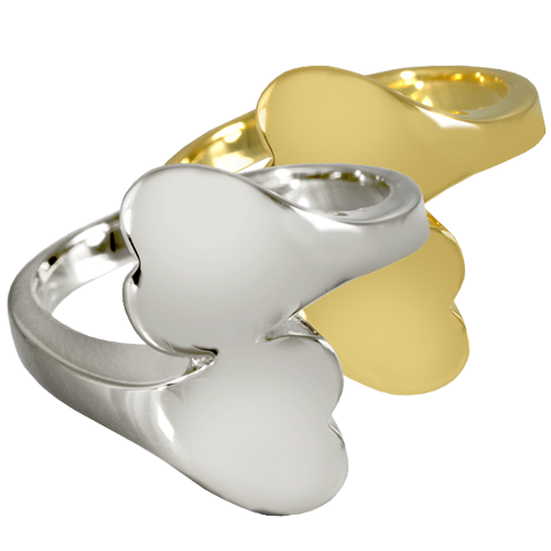 Wholesale Pet Jewelry Companion Heart Ring shown in silver and gold metals