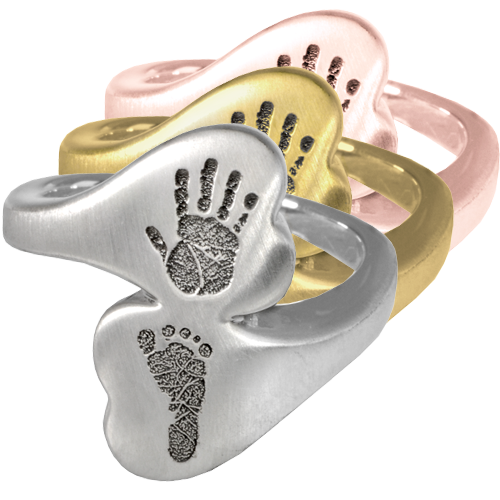 Companion Heart Ring- Handprint & Footprint shown in silver and gold metals