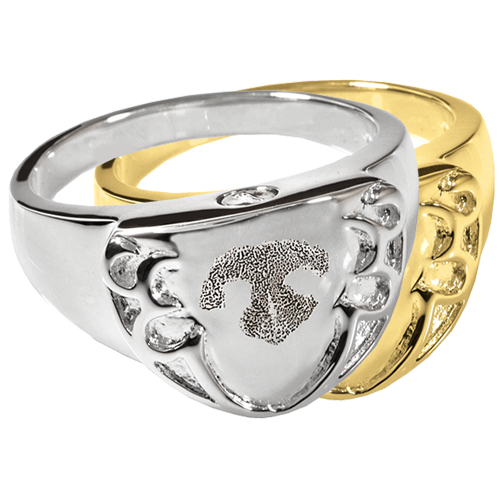 Wholesale Pet Print Cremation Shield Ring Noseprint in silver and gold