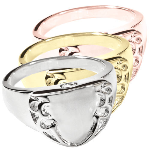 Wholesale Cremation Jewelry Engravable Shield Ring shown in silver and gold