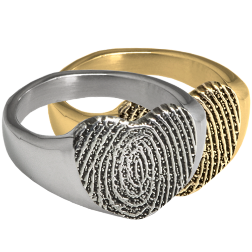 Wholesale Bold Heart Ring with Fingerprint in silver and gold